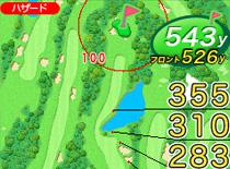レイアウトモードで左右キーを押すとビューが切り替わります。  右下にクラブのイラストが表示されているのがMyウエポンビューです。     Myウエポンビューでは、クラブに設定された飛距離に基づいて  その時点の最適なクラブ選択をサポートしてくれます。  上下ボタンでクラブ切り替えが可能なので  自分だけの攻略ルートを直感的に見つけることが簡単です。  まさに、自分オリジナルのナビとなります。     また、『元気!ゴルフ』のMyウエポン設定ファイルをダウンロードし  事前にEAGLE VISIONに反映しておくことで、  地点登録したときに、Myウエポンの情報が組み込まれるようになっています。  『元気!ゴルフ』にアップロードした際にMyウエポン情報も登録されるようになりますので、  より詳細な形でラウンド履歴を記録することができます。     ※1  表示されている距離は水平直線距離となっております